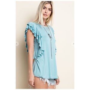 Blue Flutter Sleeve Soft Stretchy Sleeveless Tee!